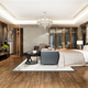 3d rendering luxury modern bedroom suite tv with wardrobe and walk in closet and working table - PhotoDune Item for Sale