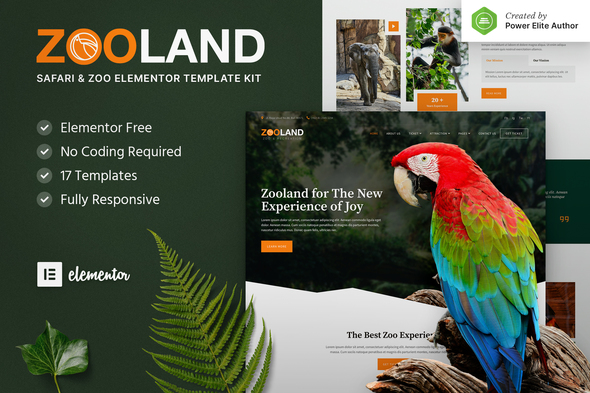 Zooland – Safari & Zoo Elementor Template Kit