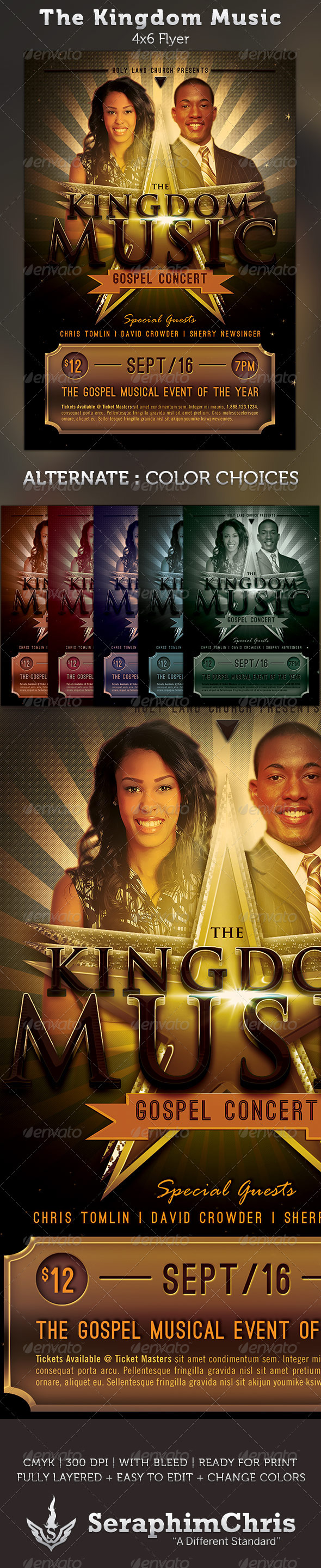 The Kingdom Music: Gospel Concert Flyer Template - Church Flyers