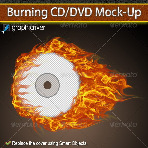 Burning CD/DVD Cover Mockup - Discs Packaging
