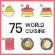 75 World Cuisine Icons | Hazel Series