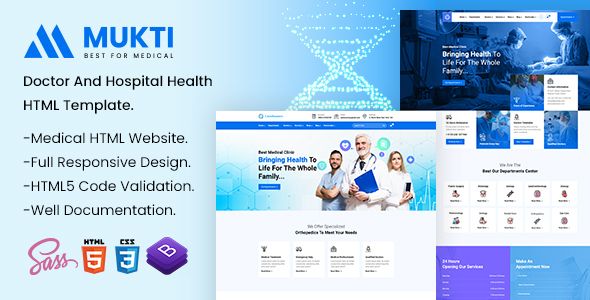 Mukti - Hospital Health HTML Template