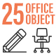 25 Office Object Outline Icon Set