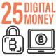 25 Digital Money Outline Icon Set
