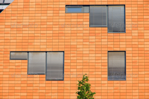 Orange facade with windows - Stock Photo - Images
