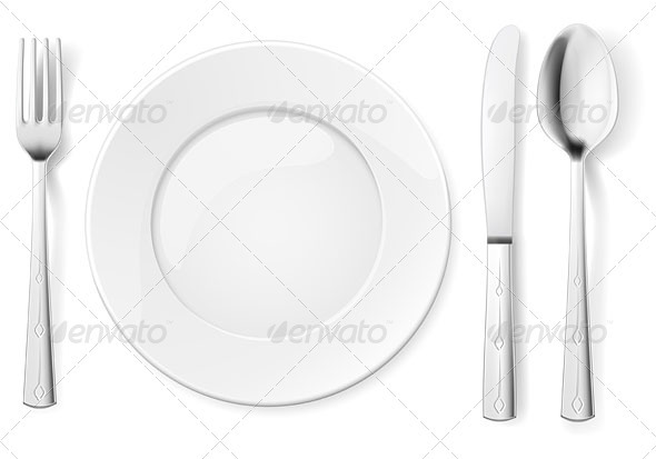 Empty plate with spoon, knife and fork - Man-made Objects Objects