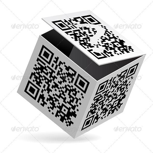 QR code on box - Decorative Vectors
