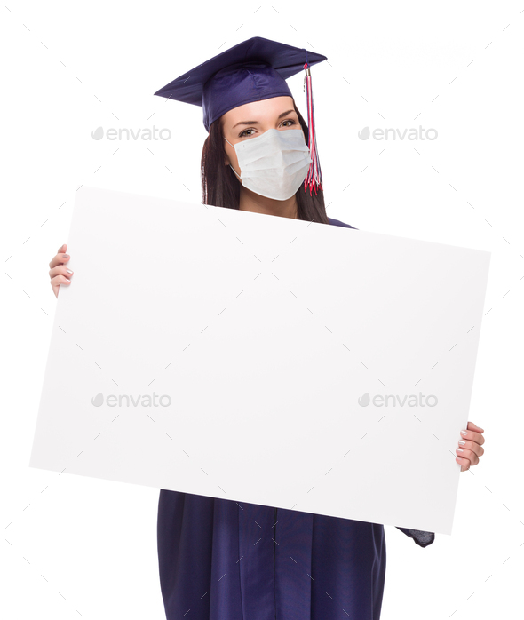 Graduating Female Wearing Medical Face Mask and Cap and Gown  Holding Blank Poster Board Isolated - Stock Photo - Images