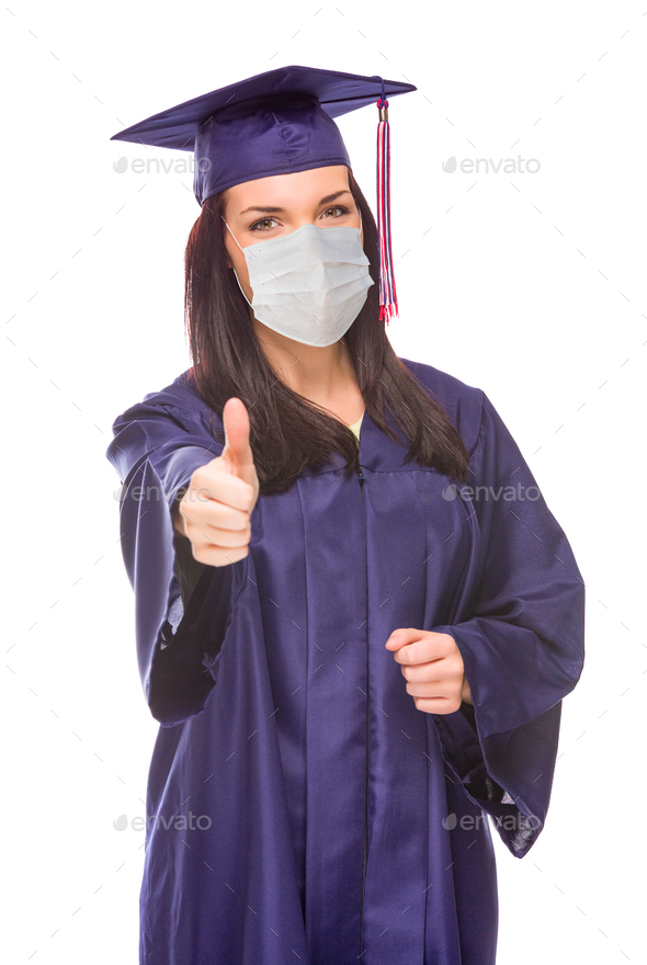 Graduating Female Wearing Medical Face Mask and Cap and Gown  Give a Thumbs Up Isolated - Stock Photo - Images