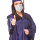 Graduating Female Wearing Medical Face Mask and Cap and Gown  Give a Thumbs Up Isolated - PhotoDune Item for Sale