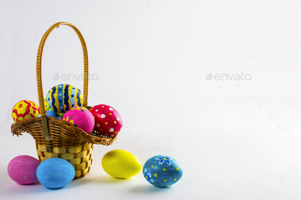 Easter eggs in the basket - Stock Photo - Images