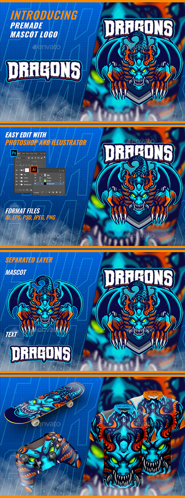 Blue Dragons - Mascot & Esport Logo