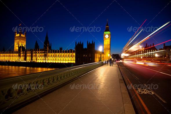 Big ben at night - Stock Photo - Images