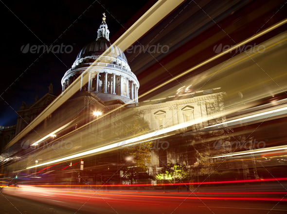 St Paul's cathedral at night - Stock Photo - Images