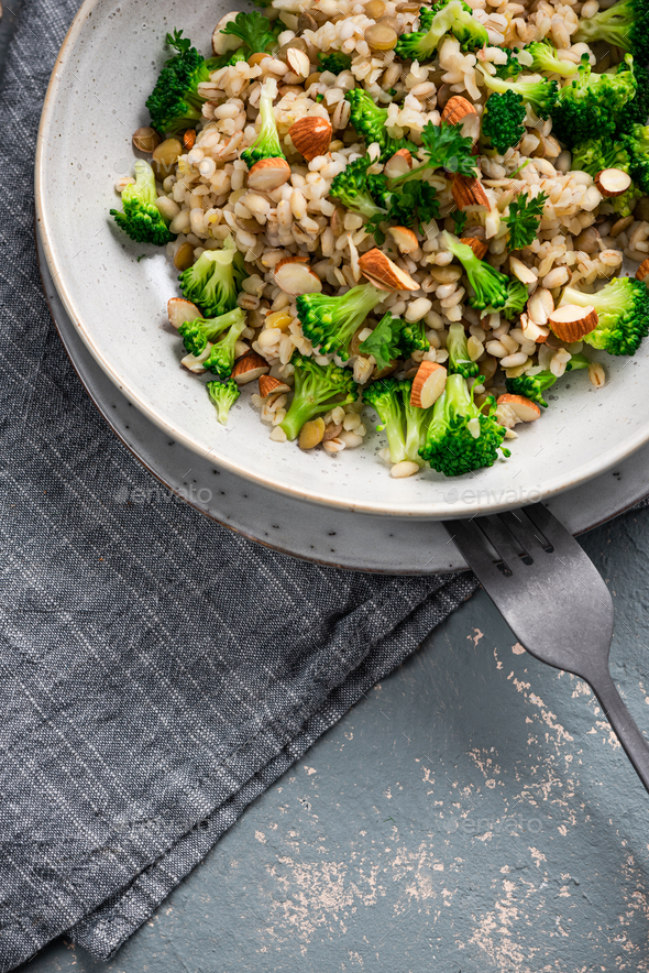 Risotto with Broccoli and Almond. Risotto made of Groat - Stock Photo - Images
