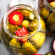 Pickled Gherkin Cucumber with Red Pepper. Homemade Preserves Marinated Food in Jar - PhotoDune Item for Sale
