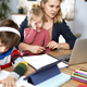 Mother trying to reconcile remote work with homeschooling - PhotoDune Item for Sale