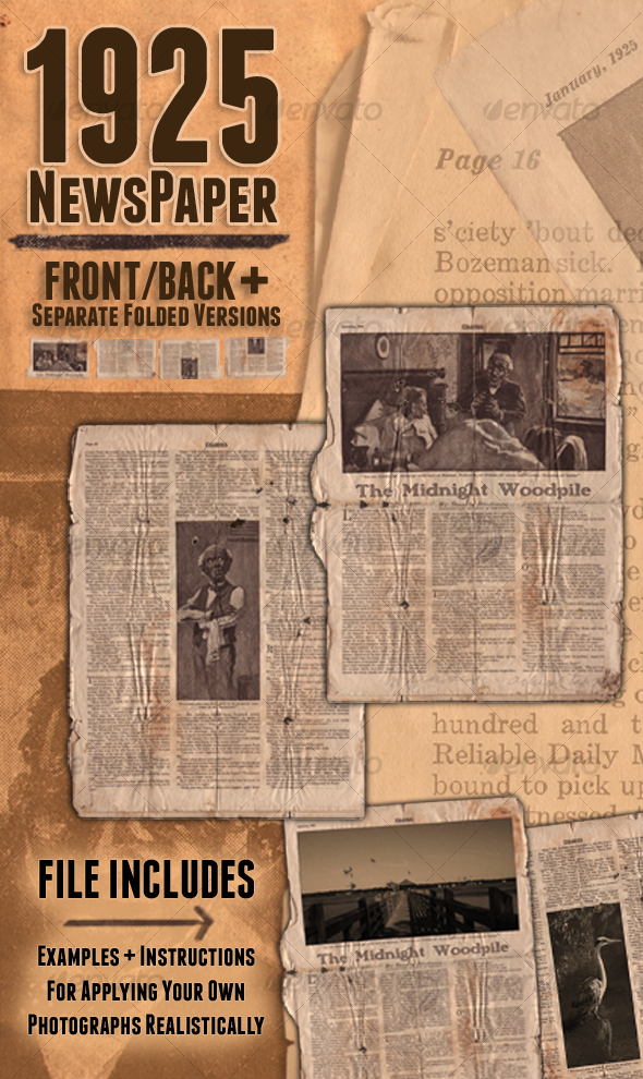 1925 Newspaper - Photo Templates Graphics