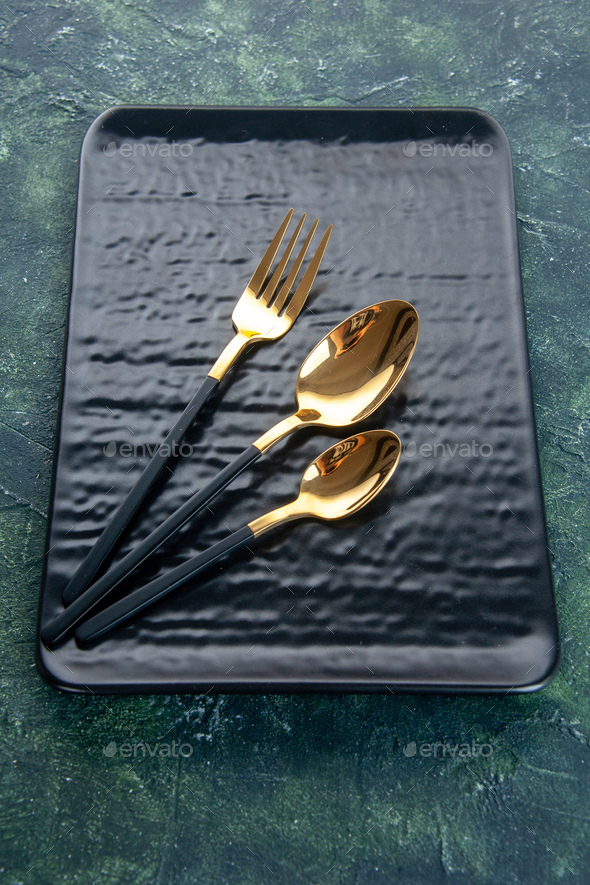 above view black plate with golden cutlery on dark background color meal dinner silver restaurant