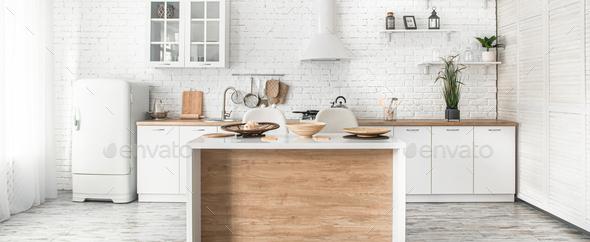 Modern stylish Scandinavian kitchen interior with kitchen accessories. - Stock Photo - Images