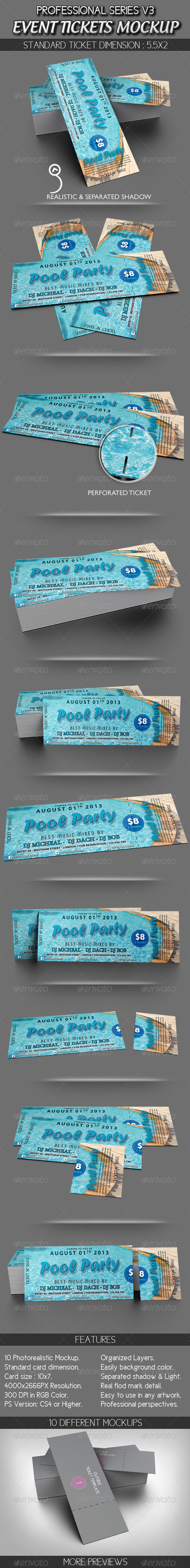 Event Tickets Mockup - Miscellaneous Print
