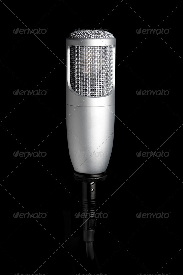 microphone on black background - Stock Photo - Images