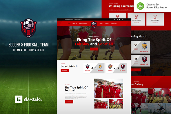 Socca – Football Team  & Sports Club Elementor Template Kit