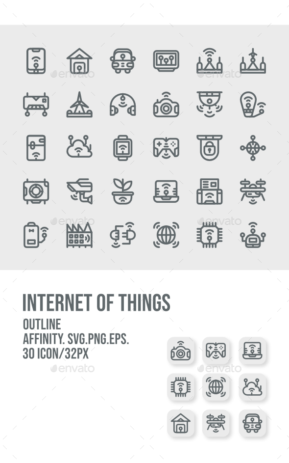 30 Internet Of Things Outline Icon
