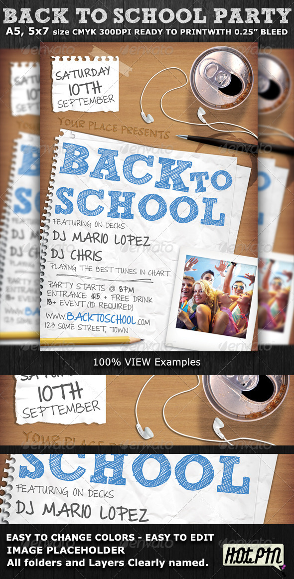 Back To School Party Flyer Template By Hotpin | Graphicriver