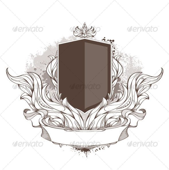 Badge and bizarre pattern on dirty background - Decorative Symbols Decorative