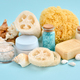 Spa accessories - sea salt, cream, sea sponge, soap and shells in cosmetics set for spa - PhotoDune Item for Sale