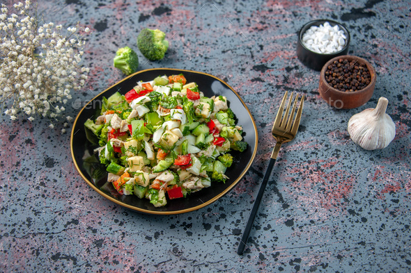 above view vegetable salad inside plate with cutlery on dark background color lunch restaurant
