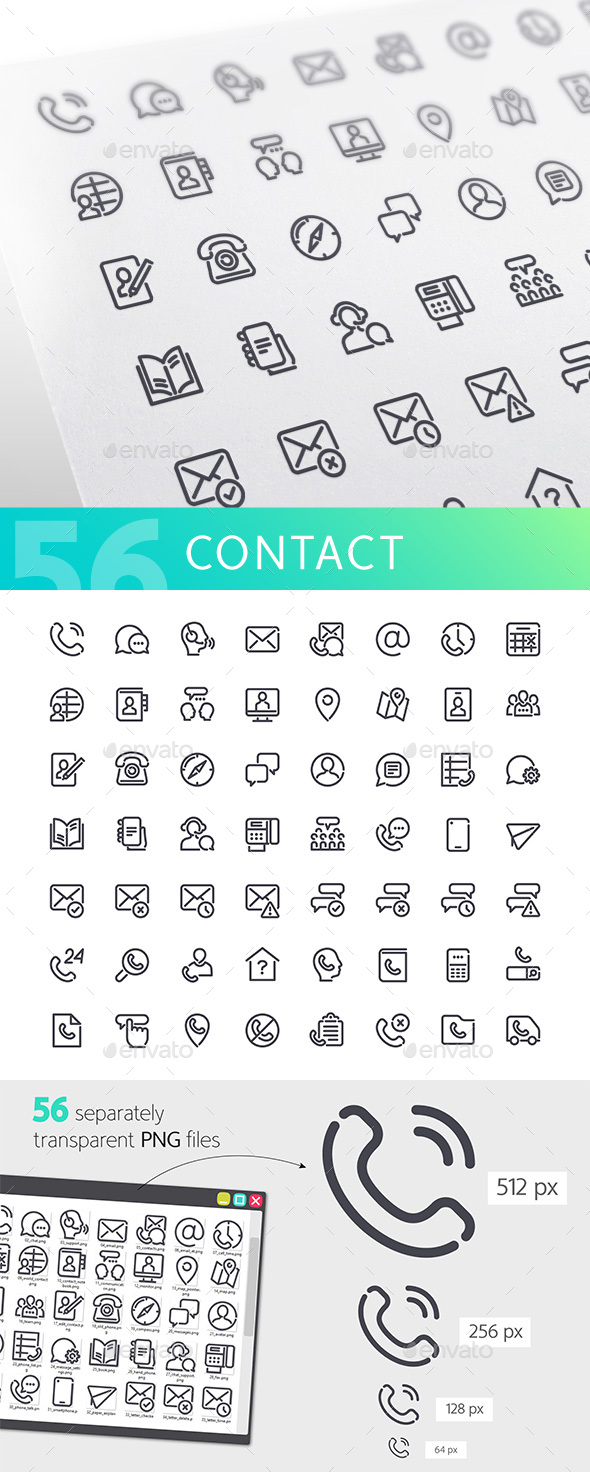 Contact Line Icons Set