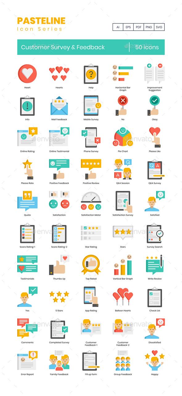 50 Customer Survey & Feedback Icons   Pasteline Series