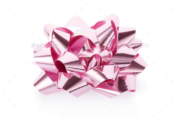 Pink, shiny gift bow on white background, clipping path - Stock Photo - Images