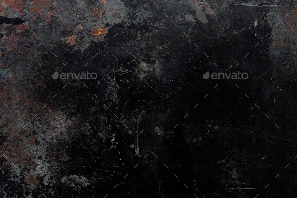 Black, corroded metal texture background with rusty parts - Stock Photo - Images