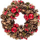 Christmas wreath with pine cones, red berries and acorns isolated on white background - PhotoDune Item for Sale