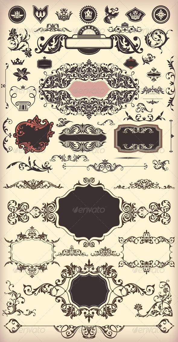 Floral Vintage Elements - Borders Decorative