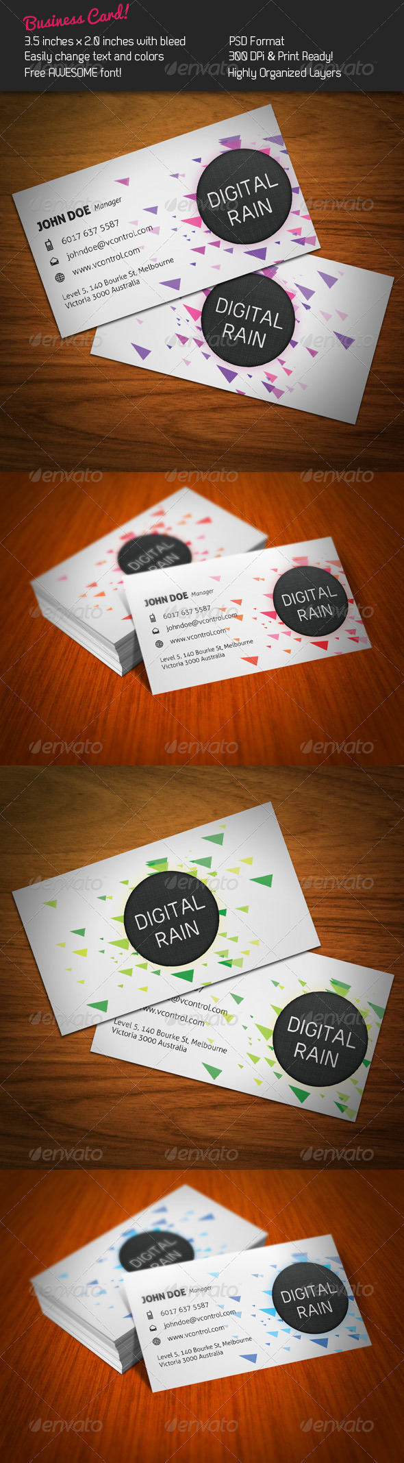 Digital Rain Business Card - Creative Business Cards