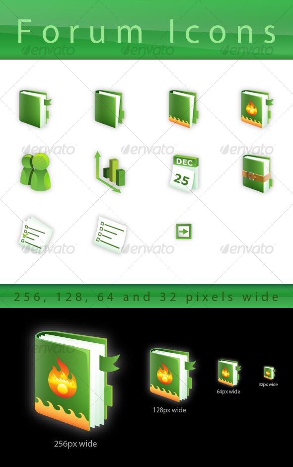 Green Forum Icon Set - Web Icons