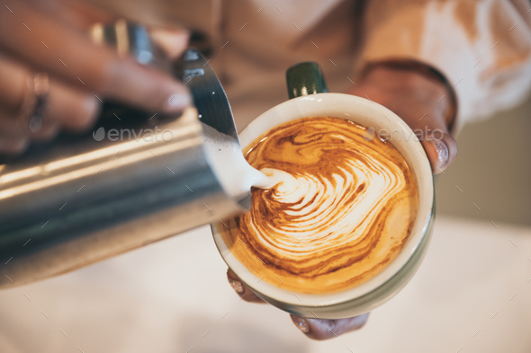 coffee latte art, coffee cup - Stock Photo - Images