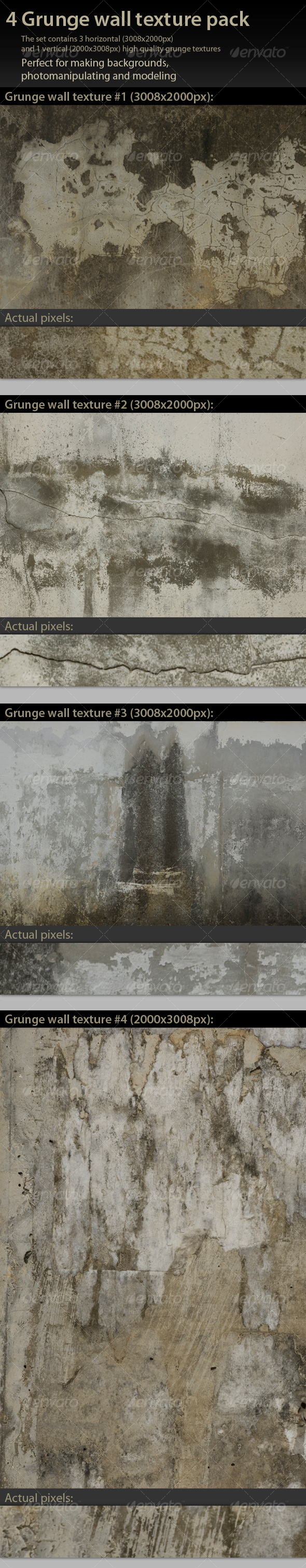 4 Grunge Wall Textures Pack - Industrial / Grunge Textures