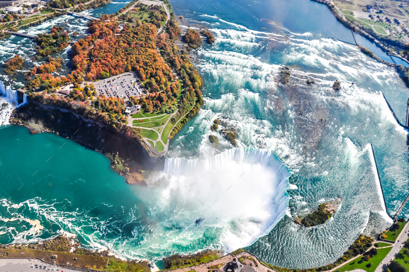 Aerial view of Niagara waterfall in the Summer - Stock Photo - Images