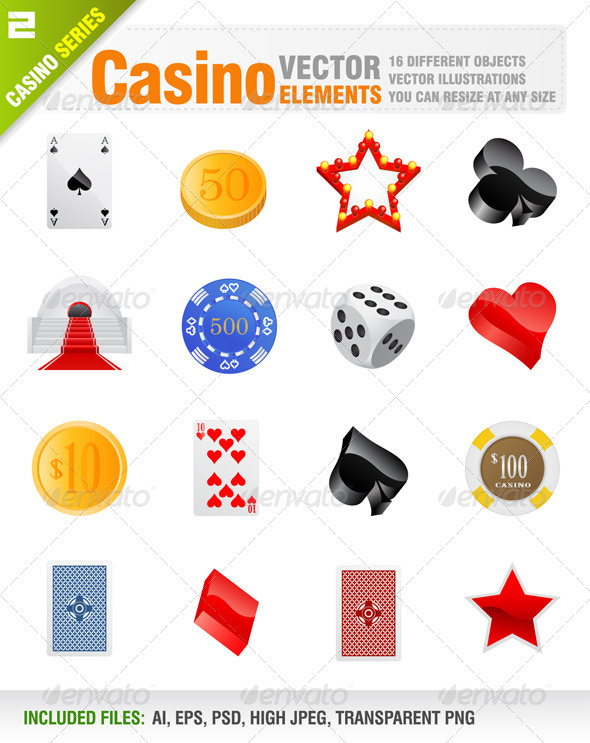 16 Vector casino elements - Objects Vectors