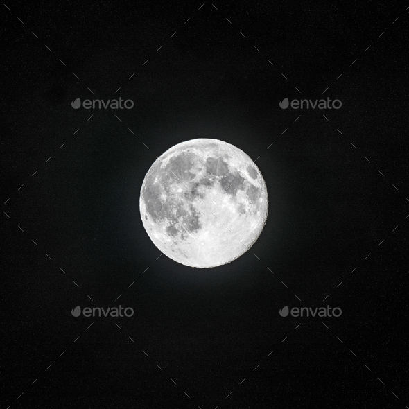 Full moon in the clear night sky - Stock Photo - Images