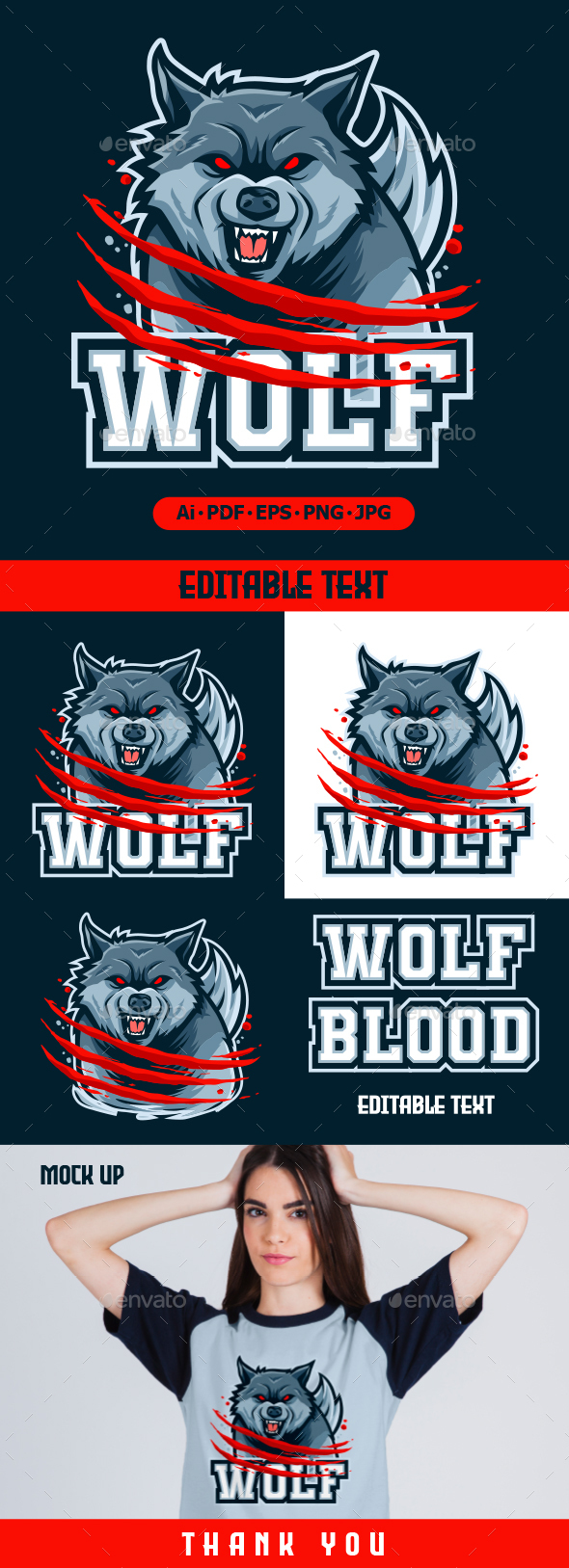 Wolf Mascot logo for eSport and sport