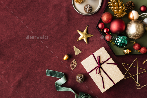 Christmas ornaments on a red background - Stock Photo - Images