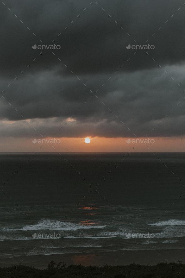 Sunset at the coast - Stock Photo - Images