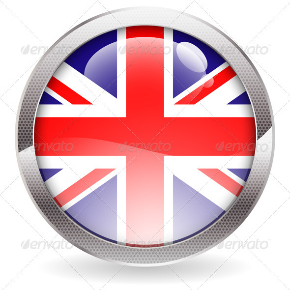 Gloss Button with British Flag - Web Technology