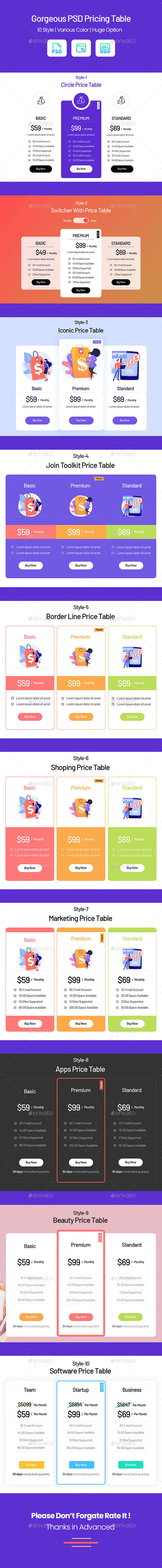 Gorgeous PSD Pricing Table